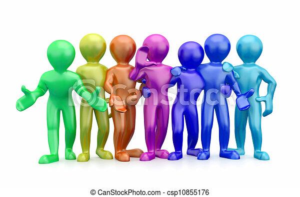 人々。, teamwork., グループ, 3d, friendship. - csp10855176