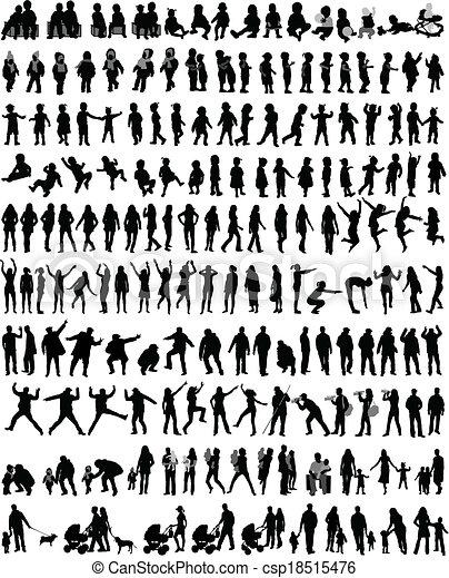 人們, 黑色半面畫像, 混合, 矢量, 工作 - csp18515476