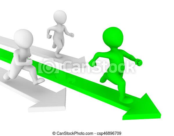 人們, concept., 競爭, 小, runs., 3d - csp46896709