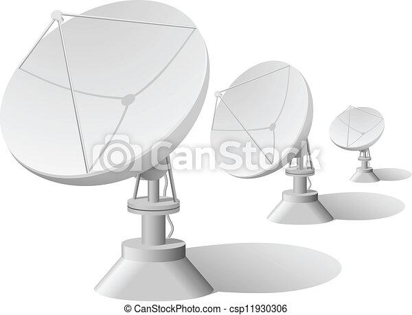 人工衛星, ベクトル, イラスト, 皿, 横列 - csp11930306
