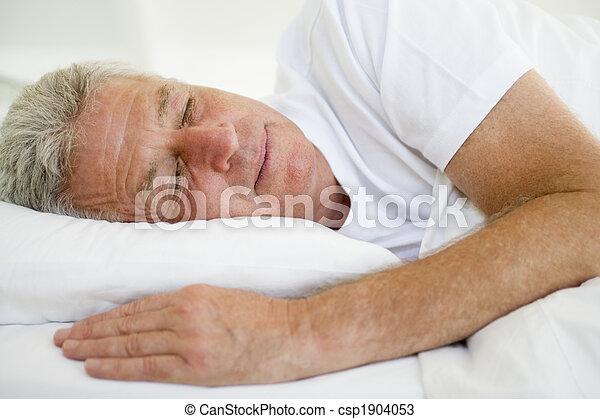 人, あること, ベッド, 睡眠 - csp1904053