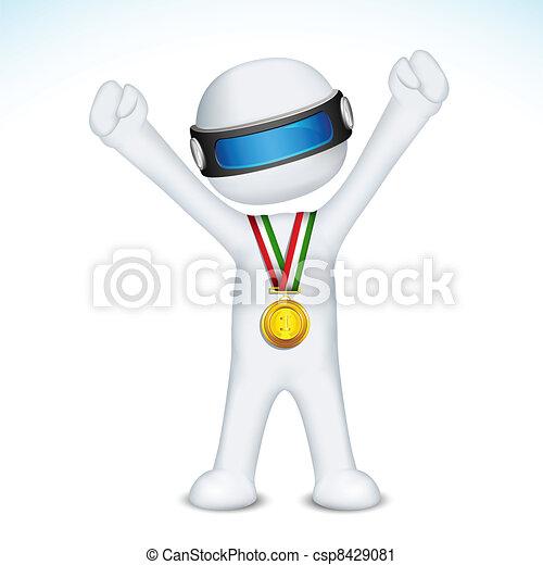 人, ベクトル, メダル, 金, 3d - csp8429081