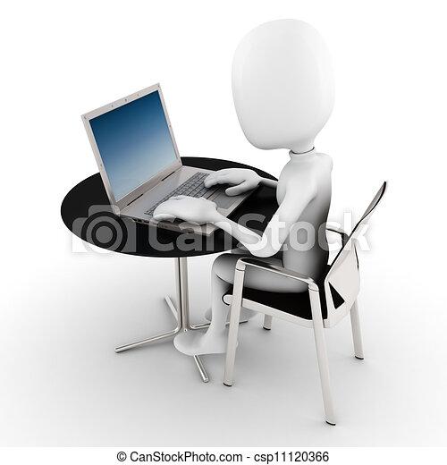 人, ラップトップ, 彼の, 仕事, 3d - csp11120366