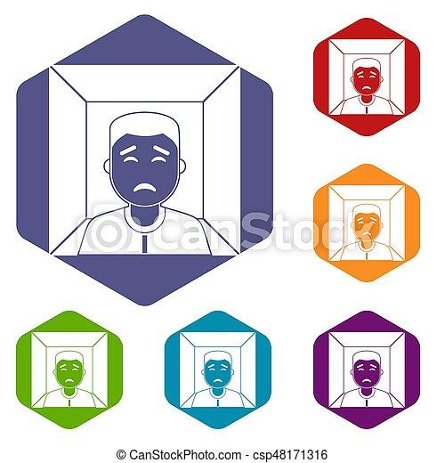 人, 六角形, アイコン, セット - csp48171316