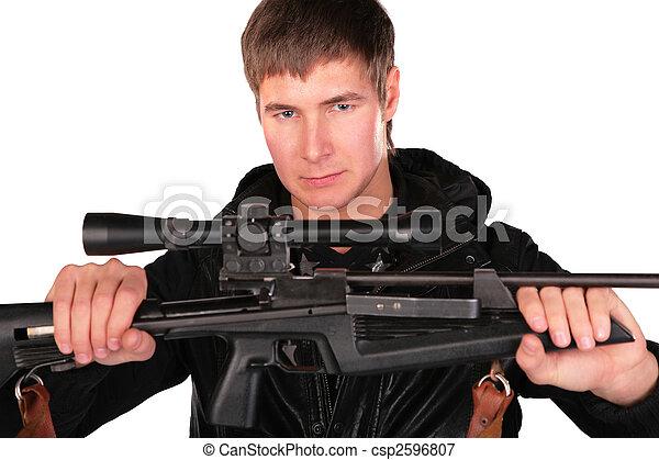 人, 手掛かり, 若い, 銃, 狙撃兵 - csp2596807