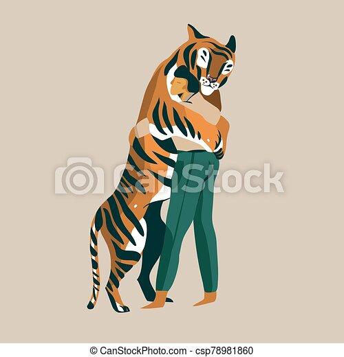 人, 抱擁, ベクトル, 情事, 慎重に, 抽象的, トレーナー, 非常に, 背景, 白, 手, グラフィック, 隔離された, 引かれる, tiger, 株イラスト - csp78981860