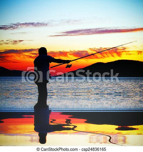 人, 湖捕魚 - csp24836165