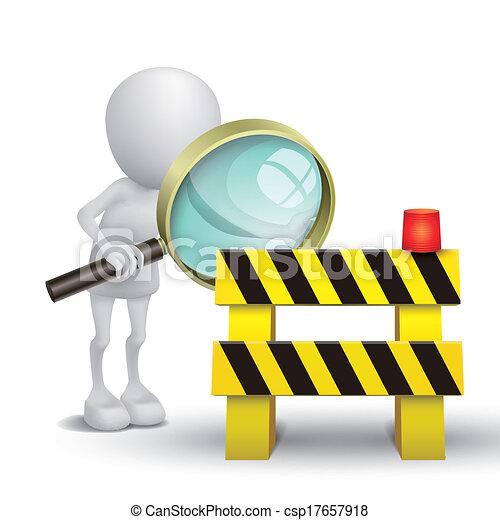 人, 監視, 道路封鎖ブロック, ガラス, 拡大する, 3d - csp17657918