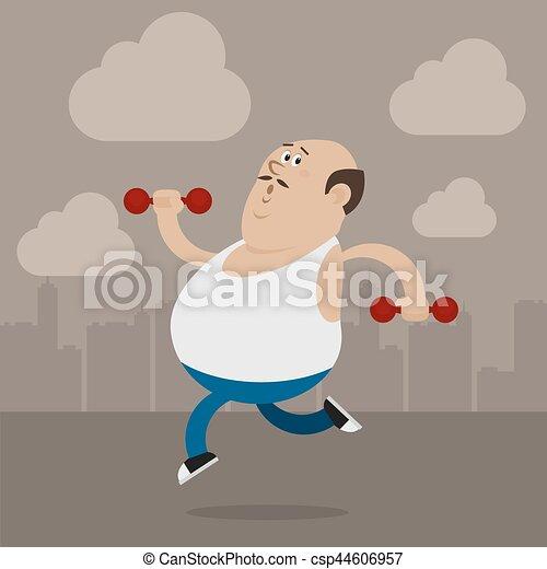 人, 行く, 脂肪, スポーツ - csp44606957