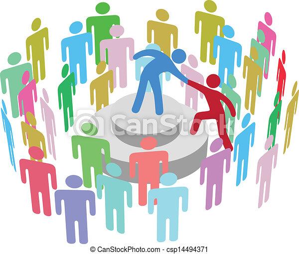 人, 話す, グループ, 助け, リーダー - csp14494371