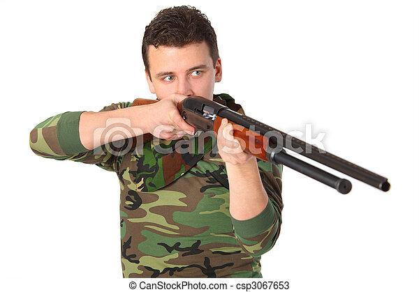 人, 銃, 目標, カモフラージュ - csp3067653