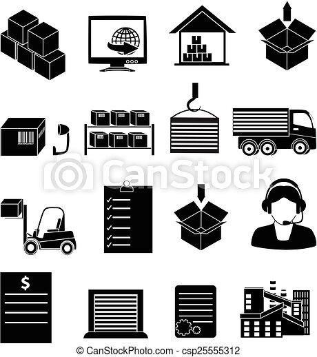 后勤, 放置, 图标, 矢量, 仓库, black.