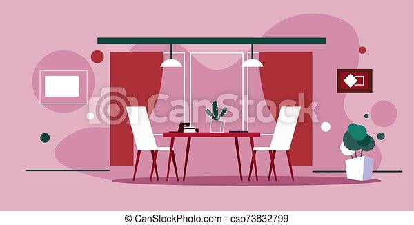 仕事場, co-working, 椅子, テーブル, スケッチ, いたずら書き, キャビネット, ピンク, オフィスの内部, 創造的, 横, 背景, 人々はなし, 空, 現代 - csp73832799