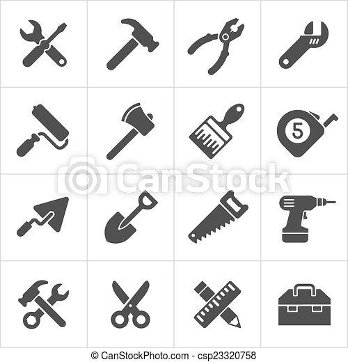 仕事, アイコン, 道具, 道具, ベクトル, white. - csp23320758