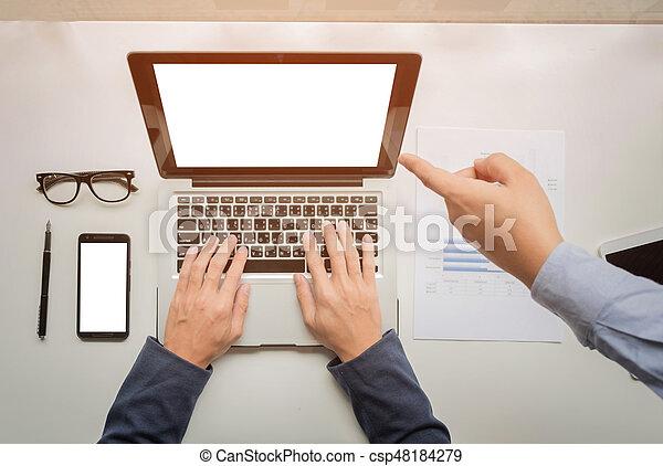 仕事, タブレット, ビジネス, グラフ, concept., 机, 電話, コンピュータ, デジタル, 手, ビジネスマン, 痛みなさい - csp48184279