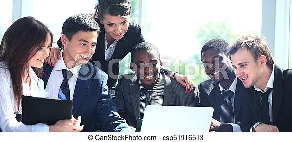 仕事, ビジネスオフィス, 現代, チーム, 幸せ - csp51916513