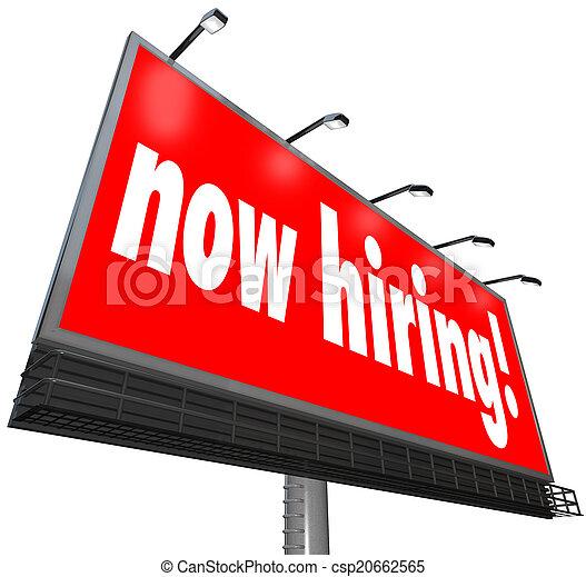 仕事, ビジネス キャリア, 印, 雇用, 言葉, 広告板, 今適用しなさい - csp20662565