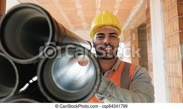 仕事, 若い, サイト, 建設, 肖像画, 人 - csp64341799