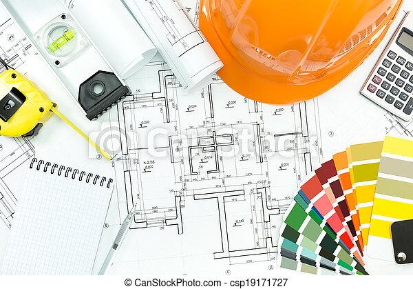 仕事, 道具, 建築である, 背景 - csp19171727