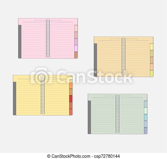 仕切り, mockup, 色, バネとじノート, セット, タブ, 開いた, ページ - csp72780144
