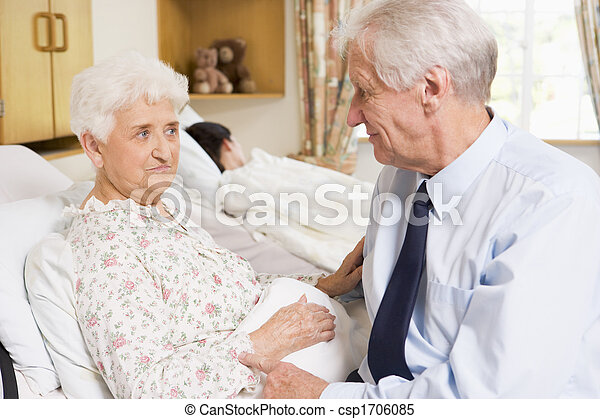 他的, 妻子, 醫院, 坐, 高階人 - csp1706085