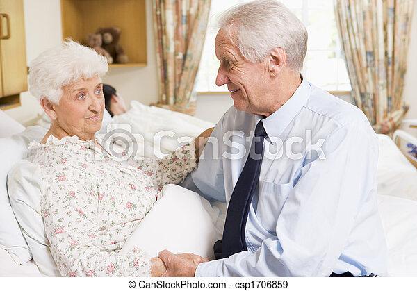 他的, 妻子, 醫院, 坐, 高階人 - csp1706859