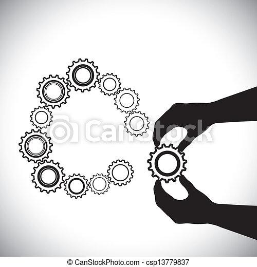 他, 手, hand(person), これ, ∥含んでいる∥, 加えられた, ある, 人, completion-vector, team(group), 参加しなさい, 助力, はめば歯車, graphic., 円, はめば歯車, イラスト - csp13779837