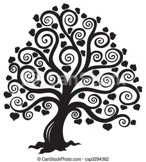 仿效某派风格, 树, 侧面影象 - csp3294362