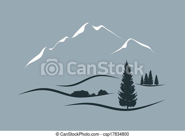 仿效某派风格, 矢量, 风景, 描述, 阿尔卑斯山 - csp17834800