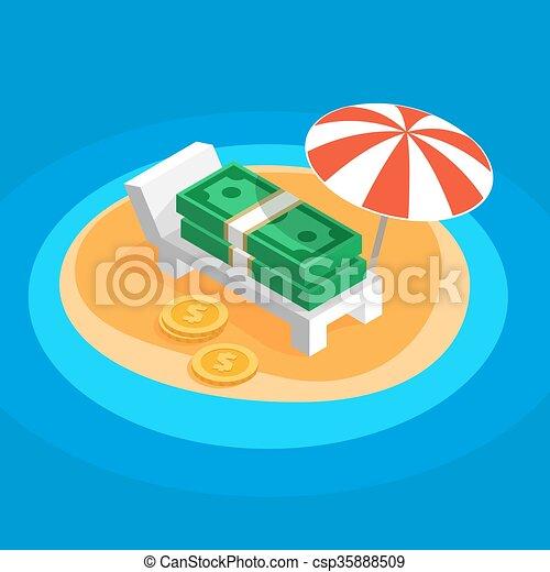 休む, 浜, 日当たりが良い, お金 - csp35888509