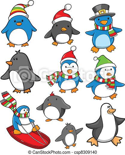 休日, セット, クリスマス, ペンギン - csp8309140