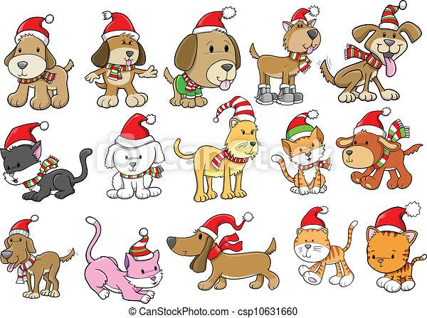 休日, セット, 犬, クリスマス, ねこ - csp10631660