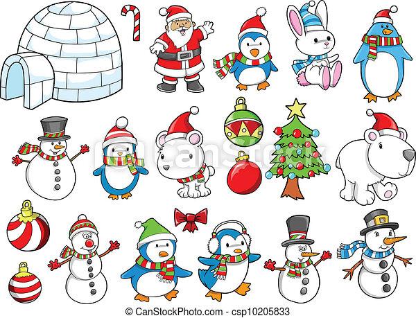 休日, ベクトル, セット, クリスマス, 冬 - csp10205833