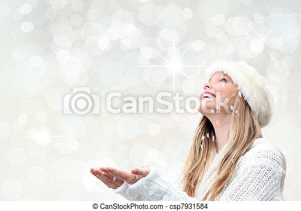 休日, 女, クリスマス, 雪 - csp7931584