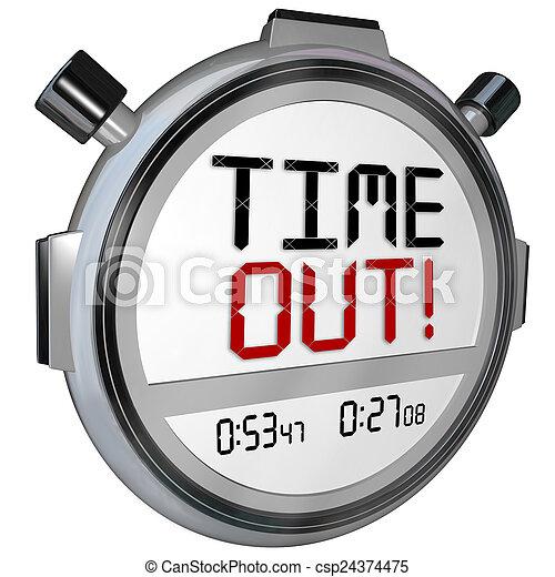 休止, 中断, タイマー, 壊れなさい, ゲーム, 言葉, 時間, ストップウォッチ, から - csp24374475