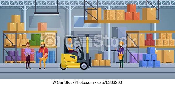 会社, ベクトル, 重量, 仕事, 中, process., concept., delivering., box., 内部, illustration., ロジスティックである, 包装, 積込み機, 工場, トラック, サービス, 商品, 貨物, 分配倉庫 - csp78303260