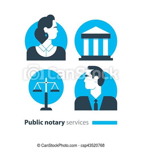 会社, 法律, アイコン, セット, certify, advocacy, 相談しなさい, サービス, notary, 文書, 公衆, 人 - csp43520768
