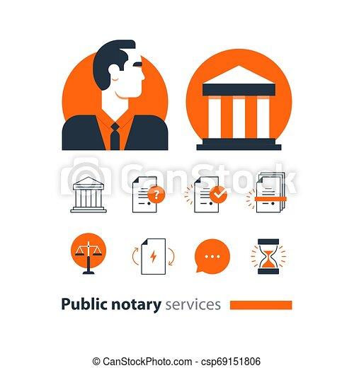 会社, 法律, アイコン, セット, certify, advocacy, 相談しなさい, サービス, notary, 文書, 公衆, 人 - csp69151806