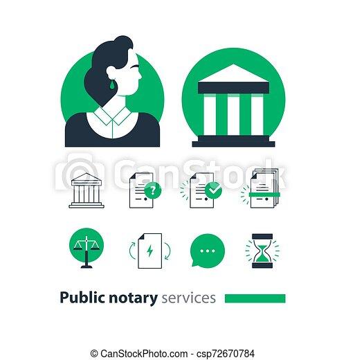 会社, 法律, アイコン, セット, certify, advocacy, 相談しなさい, サービス, notary, 文書, 公衆, 人 - csp72670784