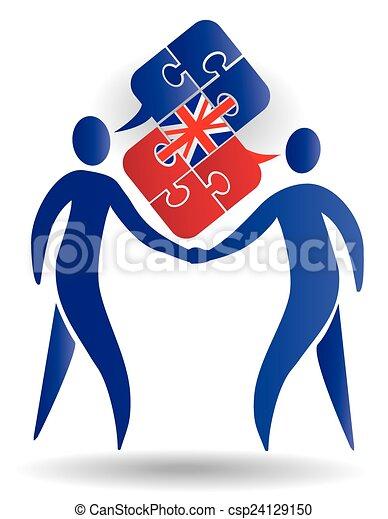 会話, 英語. 困惑, 2, イギリス, symbolizing, 会話, 旗, ベクトル ...