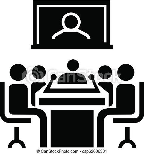 会議, アイコン, スタイル, ビデオ, 単純である - csp62606301