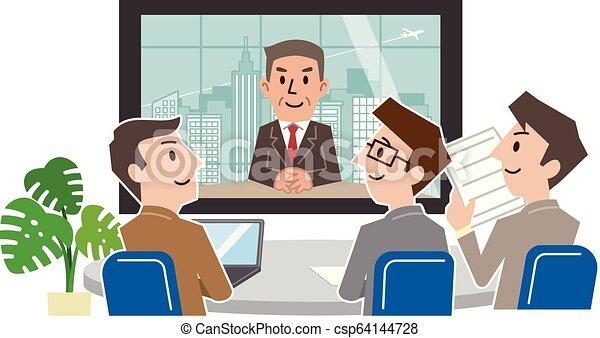 会議, グループ, businesspeople, ビデオ, 会議室, 持つこと - csp64144728