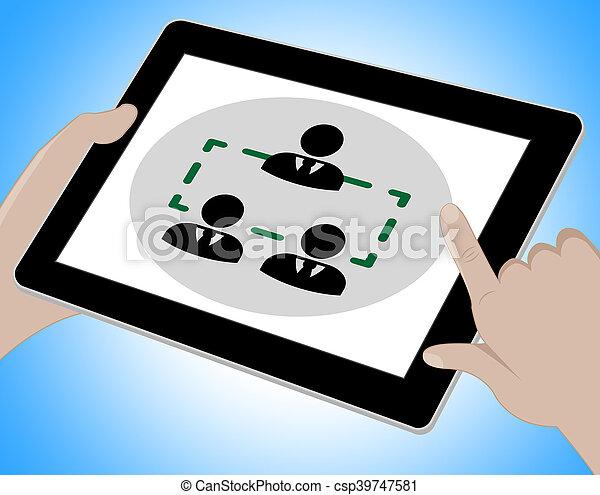 会議, タブレット, イラスト, ∥示す∥, オンラインで, セミナー, 3d - csp39747581