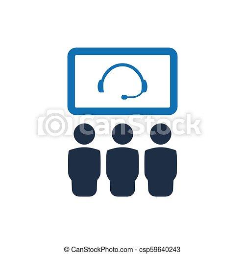 会議, ビデオ, アイコン - csp59640243