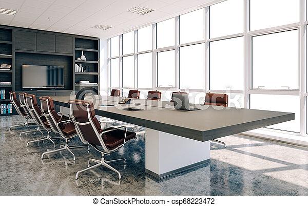 会議, 内部, 現代部屋, 3d - csp68223472