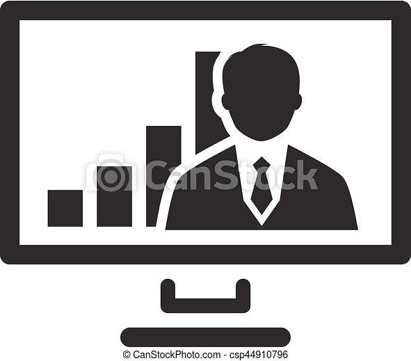 会議, 平ら, ビジネス, concept., ビデオ, icon., design. - csp44910796