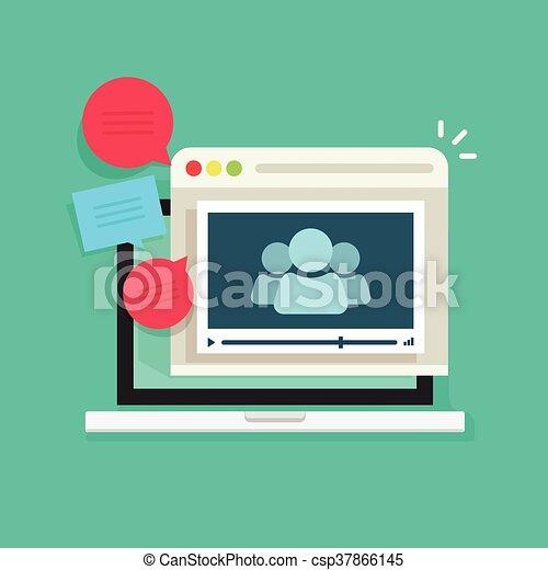 会議, 技術, 話し, 人々, webinar, 呼出し, オンラインで, ビデオ, ミーティング, アイコン - csp37866145
