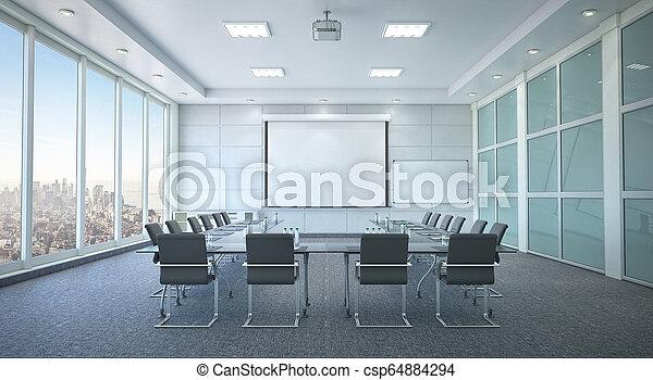 会議, interior., 部屋, イラスト, 3d - csp64884294