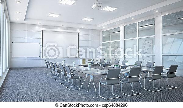 会議, interior., 部屋, イラスト, 3d - csp64884296