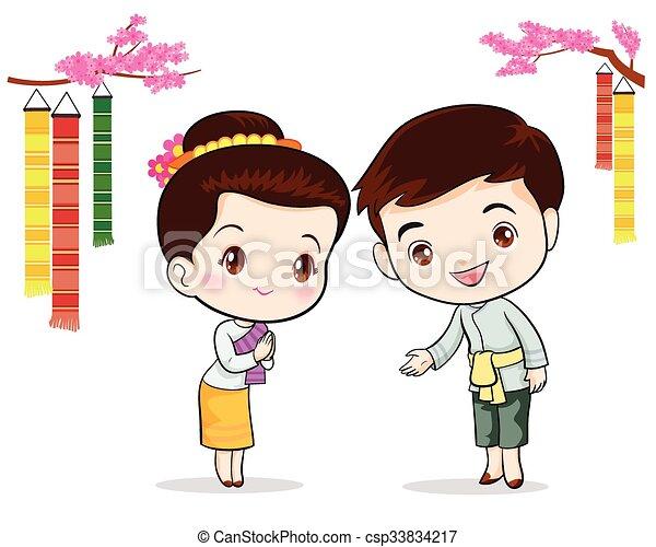 伝統的である, タイ人, 歓迎, sawasdee - csp33834217